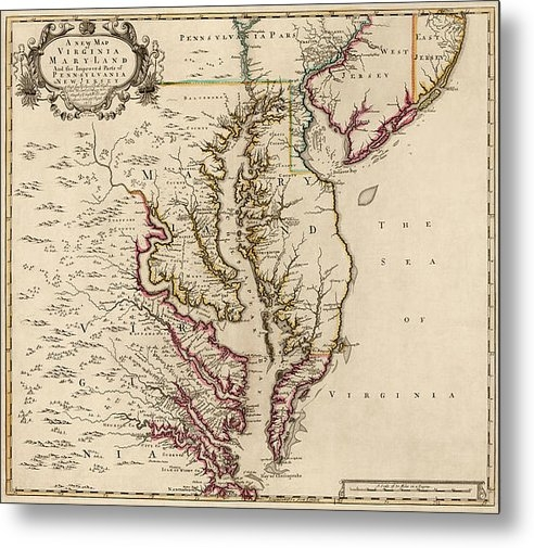 Blue Monocle - Antique Map of Maryland a... Print