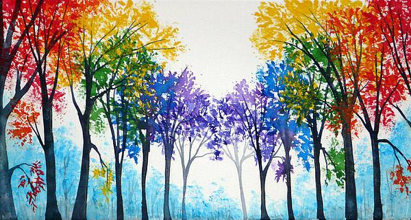Ann Marie Bone - Rainbow trees Print