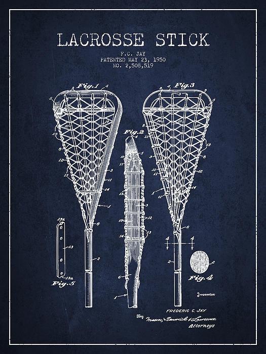 Aged Pixel - Lacrosse Stick Patent fro... Print