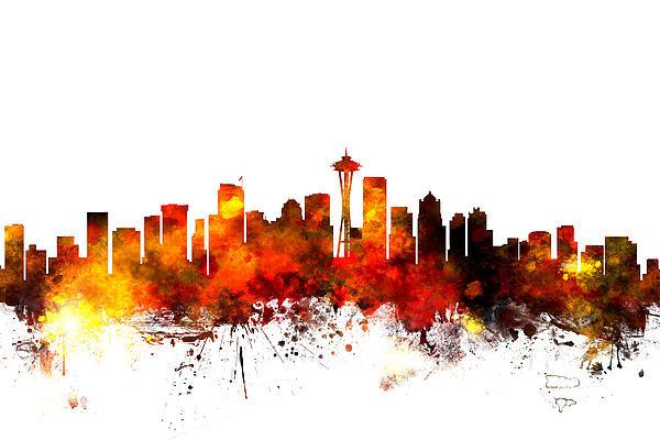 Michael Tompsett - Seattle Washington Skylin... Print