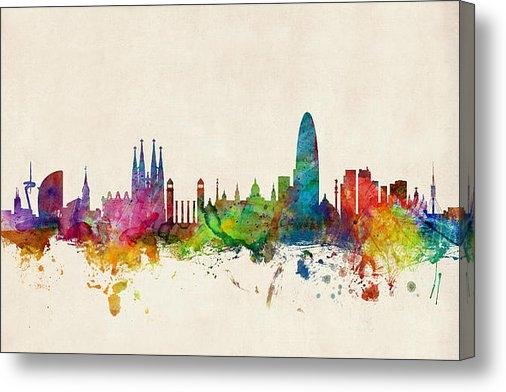 Michael Tompsett - Barcelona Spain Skyline Print