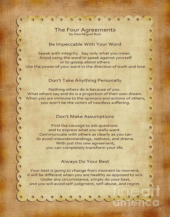 Joseph Keane - 41- The Four Agreements Print