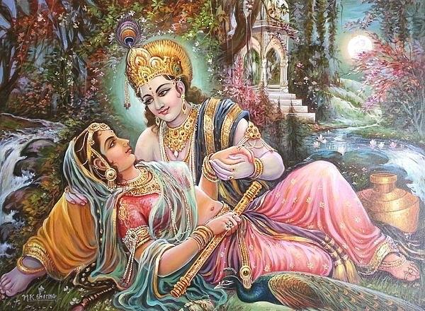 Mayur Sharma - Radha Krishna oil canvas ... Print