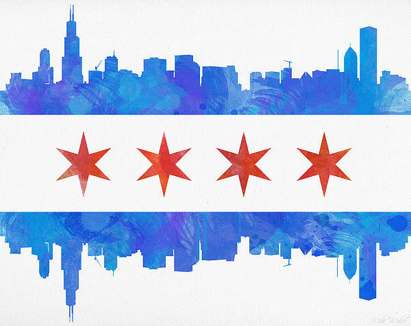 Mike Maher - Chicago Flag Watercolor Print