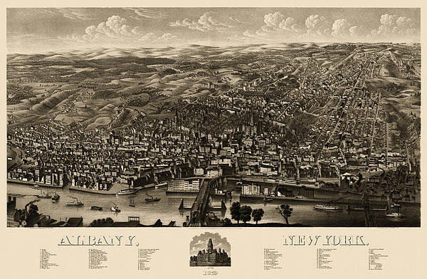 Blue Monocle - Antique Map of Albany New... Print