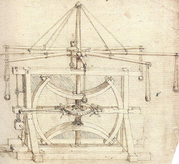 Leonardo da Vinci - Flywheel Mechanical Drawi... Print
