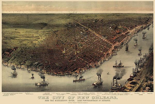 Blue Monocle - Antique Map of New Orlean... Print