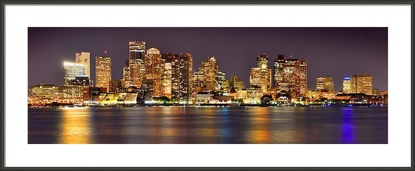 Jon Holiday - Boston Skyline at NIGHT P... Print