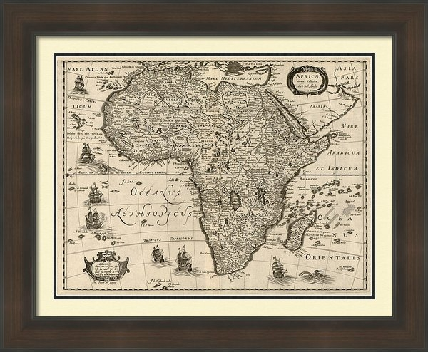 Blue Monocle - Antique Map of Africa by ... Print