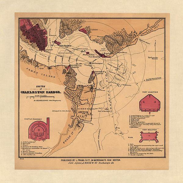 Blue Monocle - Antique Map of Charleston... Print