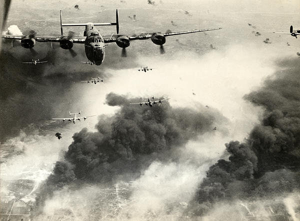 Historic Image - WWII B-24 Liberators over... Print