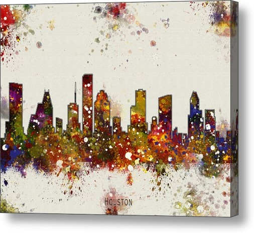 WaterColorMaps Chris and Mary Ann - Houston Skyline Print