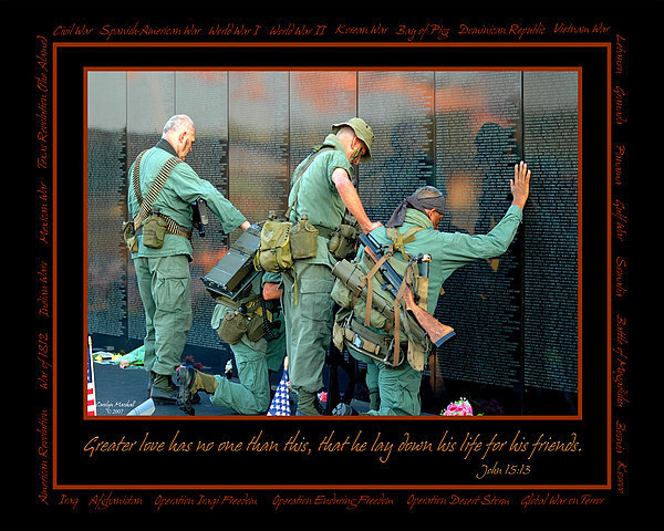 Carolyn Marshall - Veterans at Vietnam Wall Print