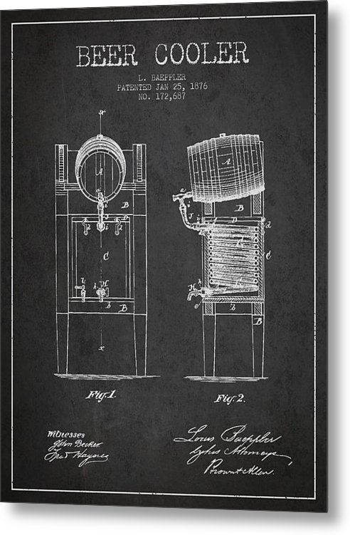 Aged Pixel - Beer Cooler Patent Drawin... Print