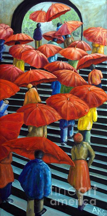 AnneKarin Glass - 01149 Climbing Umbrellas Print
