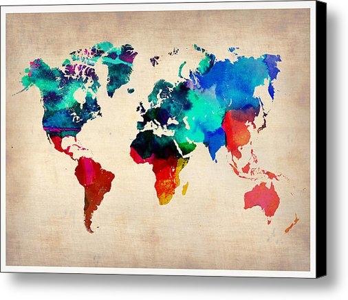 Irina  March - Watercolor World Map Print