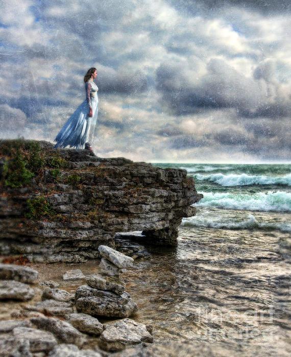 Jill Battaglia - Woman in Tattered Dress b... Print