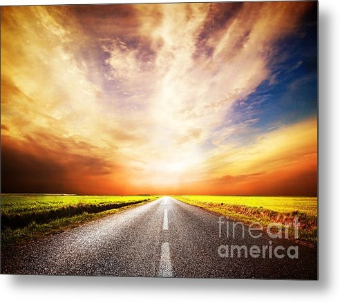 Michal Bednarek - Empty asphalt road. Sunse... Print
