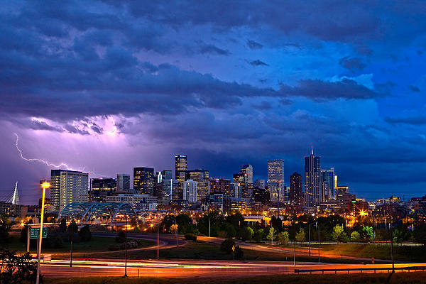 John K Sampson - Denver Skyline Print