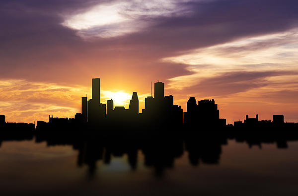 Aged Pixel - Houston Sunset Skyline  Print