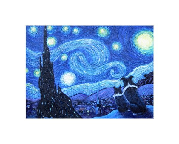 Fran Brooks - Starry Night Border Colli... Print
