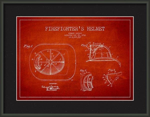 Aged Pixel - Vintage Firefighter Helme... Print