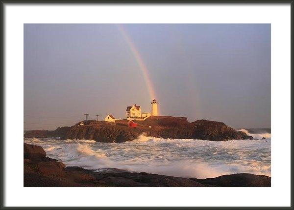 John Burk - Nubble Lighthouse Rainbow... Print
