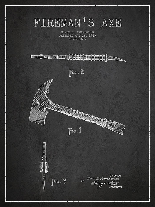 Aged Pixel - Fireman Axe Patent drawin... Print