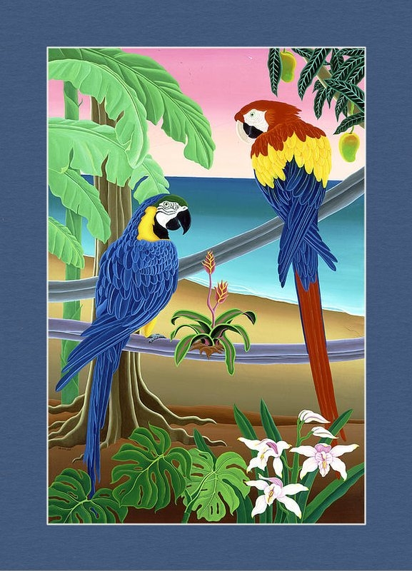 Raul Del Rio - Red and Blue Macaws Print