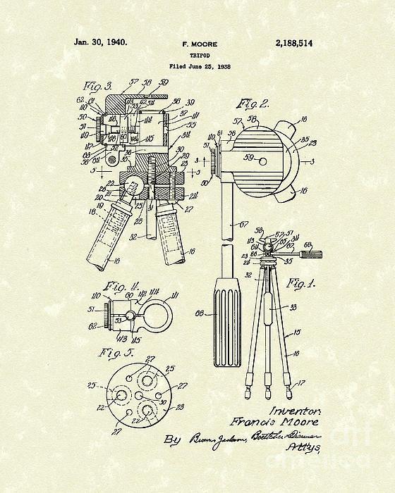 Prior Art Design - Tripod 1940 Patent Art Print