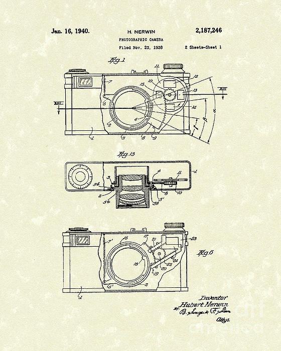 Prior Art Design - Camera 1940 Patent Art Print