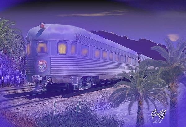 J Griff Griffin - Moonlight on the Sante Fe... Print