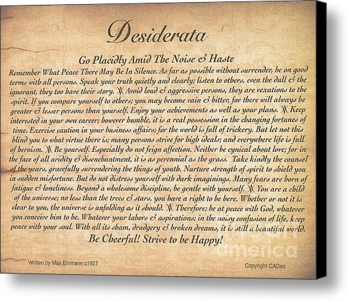 Claudette Armstrong - The Desiderata Poem on Em... Print