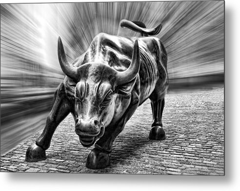 Wes and Dotty Weber - Wall Street Bull Black an... Print