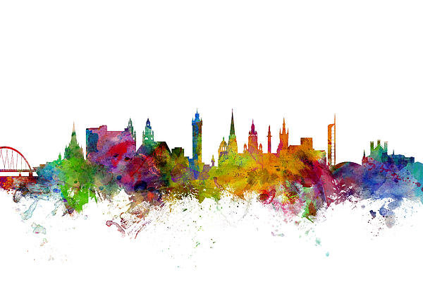 Michael Tompsett - Glasgow Scotland Skyline Print
