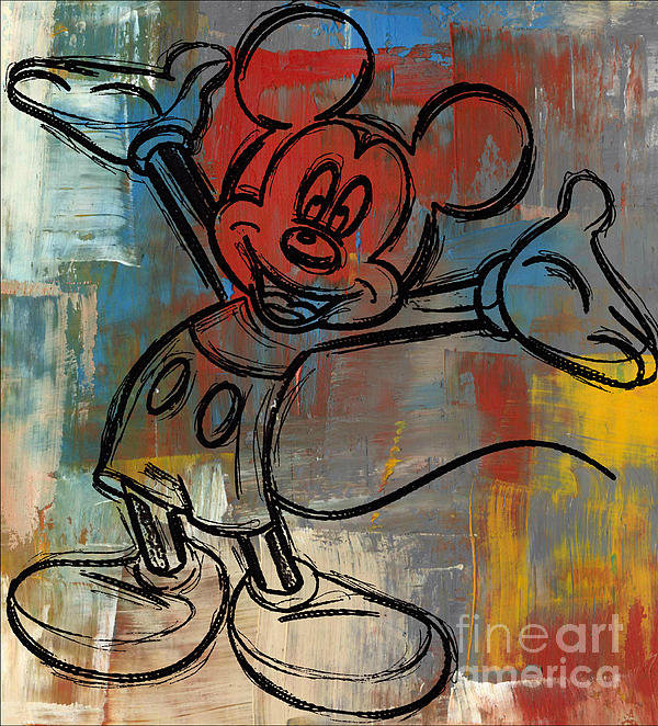 Paulette B Wright - Mickey Mouse Sketchy Hell... Print