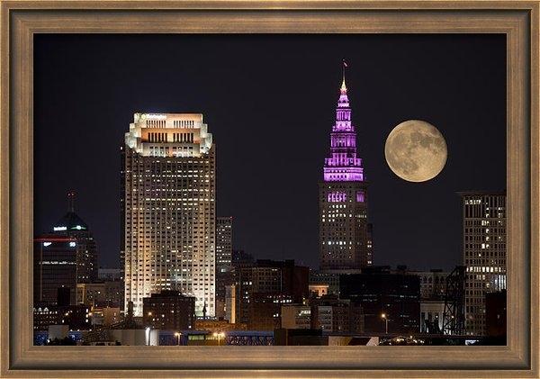 Brad Hartig - BTH Photography - Moon Behind Cleveland Print