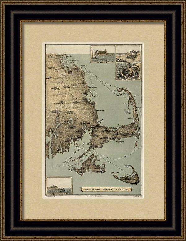 Blue Monocle - Antique Map of Cape Cod M... Print