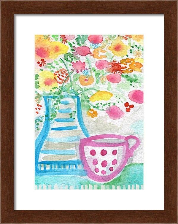 Linda Woods - Tea and Fresh Flowers- wh... Print