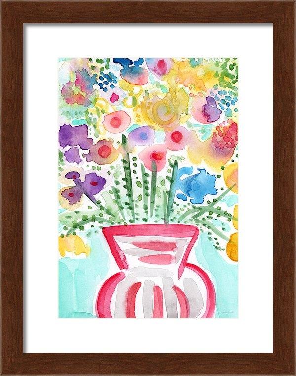 Linda Woods - Fresh Picked Flowers- con... Print