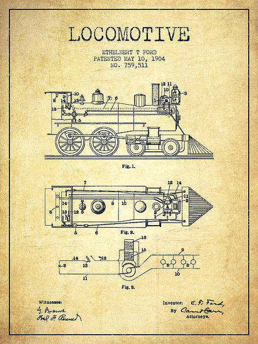 Aged Pixel - Vintage Locomotive patent... Print