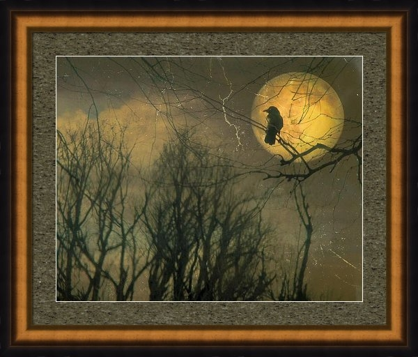 Gothicolors Donna Snyder - Old Crow And Autumn Moon Print