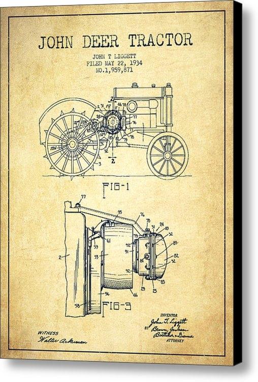 Aged Pixel - John Deer Tractor Patent ... Print