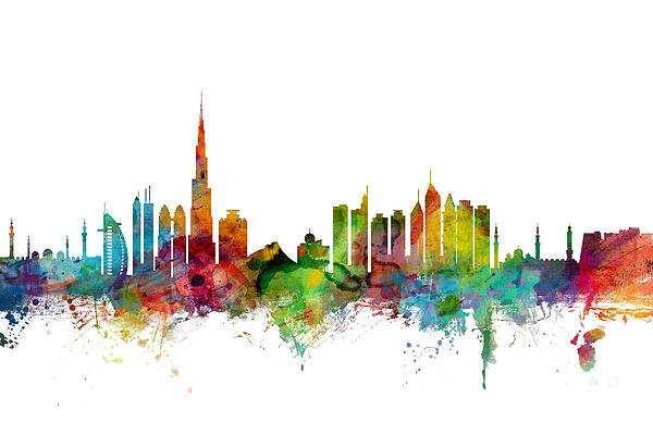 Michael Tompsett - Dubai Skyline Print