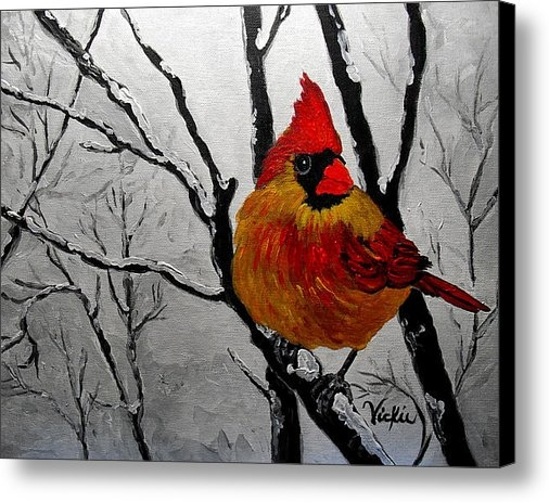 Vickie Warner - Winter Cardinal 2 Print