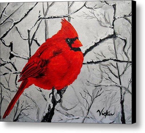 Vickie Warner - Winter Cardinal Print