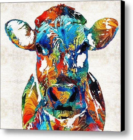 Sharon Cummings - Colorful Cow Art - Mootow... Print