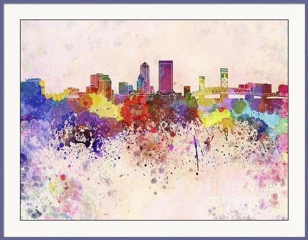 Pablo Romero - Jacksonville skyline in w... Print