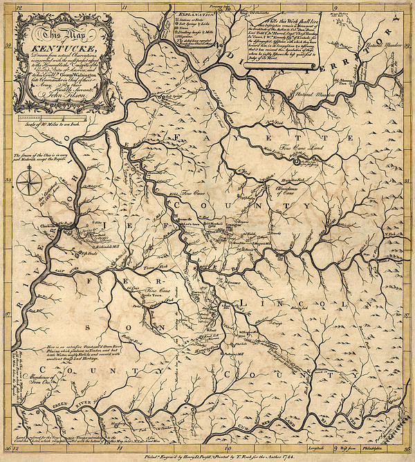 Blue Monocle - Antique Map of Kentucky b... Print