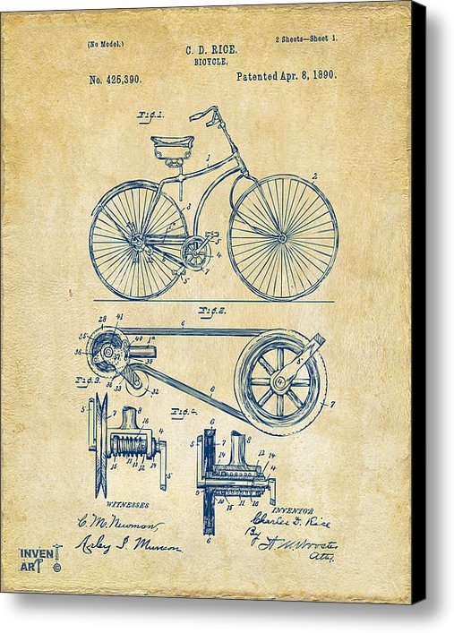 Nikki Marie Smith - 1890 Bicycle Patent Artwo... Print